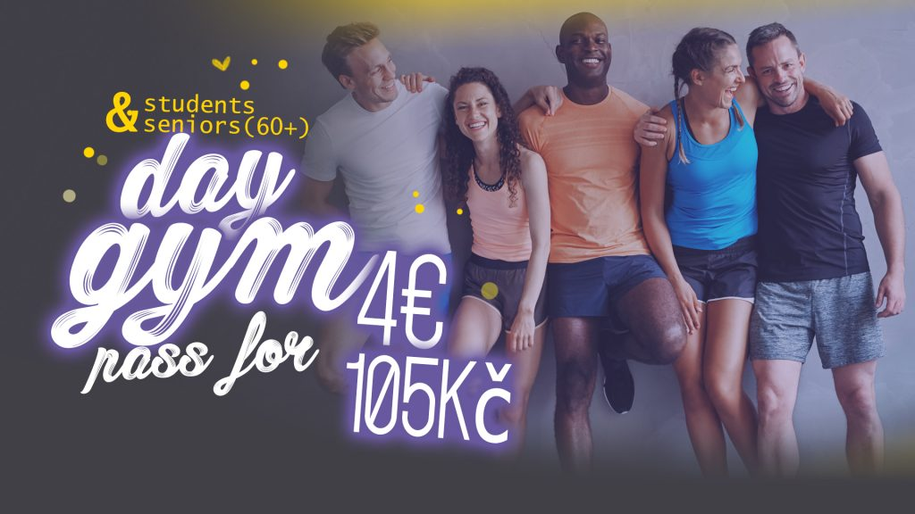 1 day gym pass for €4 for all students, seniors and disabled